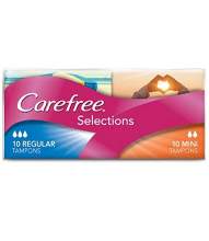 CAREFREE® Selections Mini/Regular Tampons