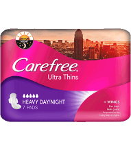CAREFREE® Ultra Thins Heavy Day/Night Pads