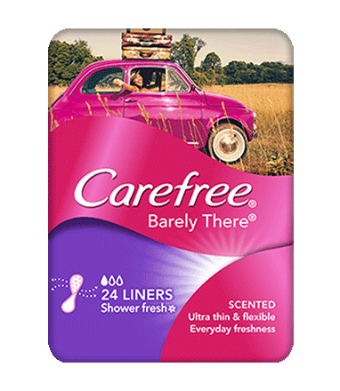 CAREFREE® BARELY THERE® Scented Shower Fresh Liners